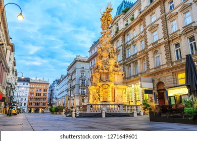 Graben, a famous pedestrian street of Vienna with a Plague Column in it