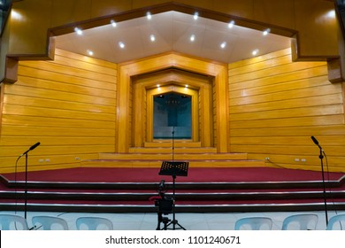 Grace Baptist Church, Baguio City, Philippines - December 18, 2017: The stage prepared for a choir presentation