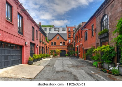 Grace Court Alley in Brooklyn Heights, Brooklyn. It was a lane that originally held stables serving buildings on paralleling streets.
