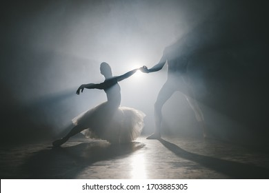 Graceful ballerina and her male partner dancing elements of classical or modern ballet in dark with floodlight backlight. Couple in smoke on black background. Art concept.
