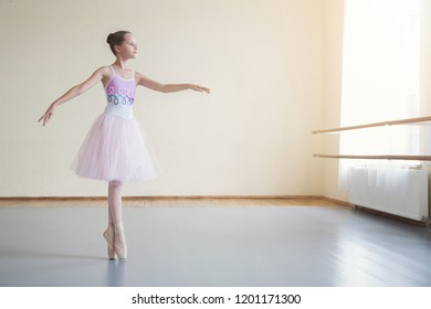 Graceful ballerina practicing ballet positions in light class, copy space