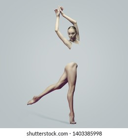 Graceful ballet dancer or classic ballerina dancing isolated on studio background. Woman's beautiful dance. The grace, artist, contemporary, movement concept. Abstract design.