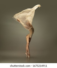 Graceful classic ballerina dancing, posing isolated on grey studio background. Tender beige cloth. The grace, artist, movement, action and motion concept. Looks weightless, flexible. Fashion, style. - Shutterstock ID 1675214911