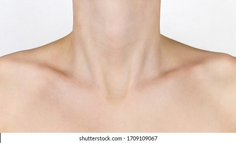 Graceful forms of the girl. Neck, shoulders and collarbones, of a young beautiful woman. Beauty and skin care concept.