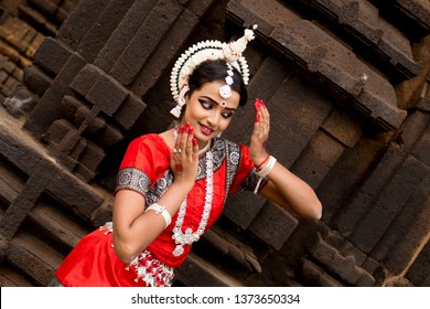 Graceful pose of a Classical odissi dancer