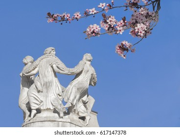 Graces in the circle, decoration from the Kurhaus of Merano with almond blossom