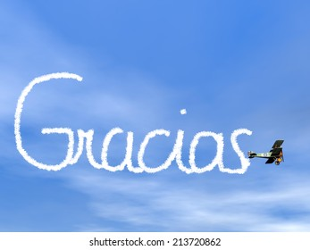 Gracias, spanish thank you message, from biplan smoke in blue sky - 3D render