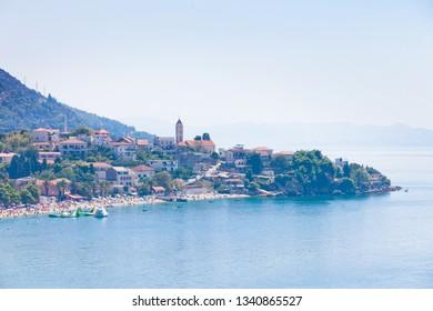 Gradac, Dalmatia, Croatia, Europe - AUGUST 24, 2017 - Aerial view upon bathing people at the bay of Gradac