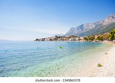 Gradac, Dalmatia, Croatia, Europe - Overview across the beautiful bay of Gradac