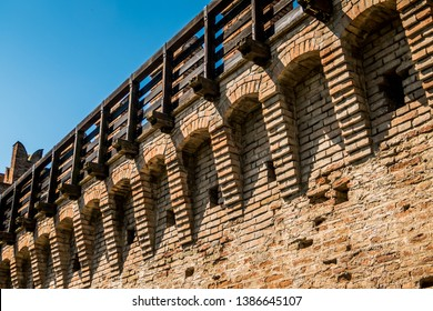 Gradara's, Italy, walkaway on the castle, medieval fort wall. the castle is rumored to be the one of Paolo and Francesca the cuople that Dante Alighieri encounters in his voyage through Hell, inferno