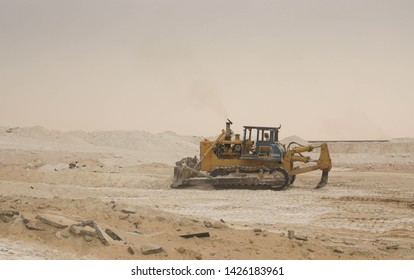 graders at work in Sand field, Jeddah, Saudi Arabia, august 2018