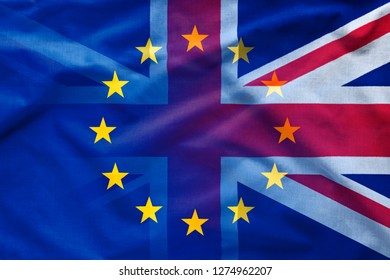 Gradient between European Union and The United Kingdom flags. Full frame background for Brexit concept