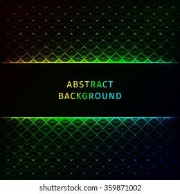 Gradient lights abstract geometric shape on dark background