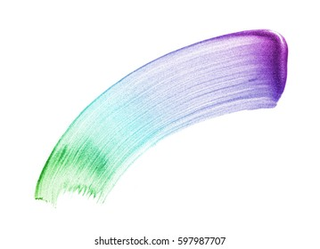 Gradient smear of paint or cream on a white background. Texture of gradient cream isolated on white