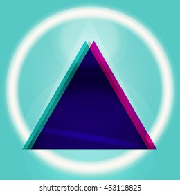 Gradient triangle poster with 3d effect. Realistic geometry shape backdrop for graphic design, poster, banner, flayer, billboard, placard, card, music single. Futuristic design art.