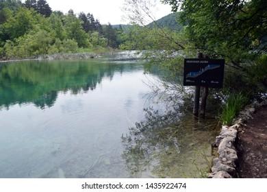 Gradinsko Lake (Gradinsko Jezero), Idyllic lake landscape in Plitvice Lakes National Park (Nacionalni park Plitvicka jezera). Karlovac County, Croatia.