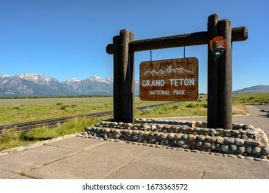 Gradn Teton National Park, United States: July 21, 2019: Grand Teton Park Sign at entrance to park