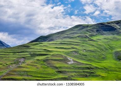 Gradual green hills of the High Caucasus in Azerbaijan, near Quba