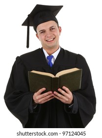 A graduate with a book, isolated on white