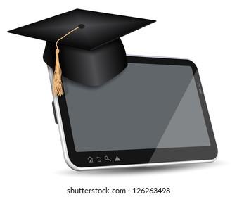 Graduate cap sitting on top of PC tablet / Internet education