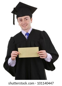 A graduate with an envelope, isolated on white