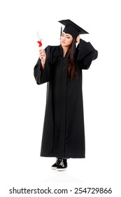 Graduate girl student in mantle with diploma, isolated on white background