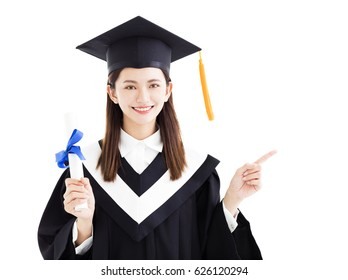 graduate student with pointing gesture isolated on white