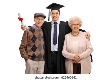 Graduate student posing together with his grandparents isolated on white background
