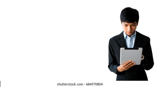 Graduate students or Students college are using Tablet on white background with copy space