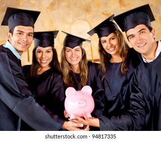 Graduate students holding a piggybank with education savings