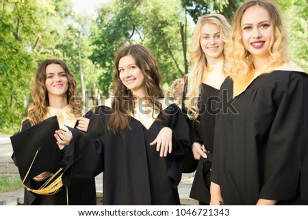 24122c92cc6 Graduate Students Wearing Graduation Hat Gown Stock Photo (Edit Now ...