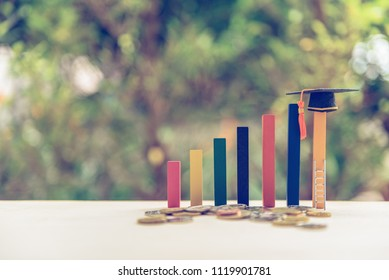 Graduate study abroad program for higher degree education concept : Black graduation cap on high bar graph with white ladder, depicts attemp or endeavor for student who study hard for career in future