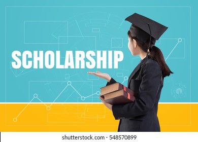 Graduated female girl holding the books with text: Scholarship