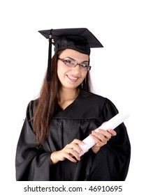 Graduated young woman with diploma
