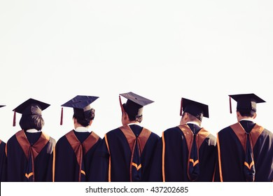 Graduates are stand up in line to get your degree ,vintage style,graduates cap behind isolated.