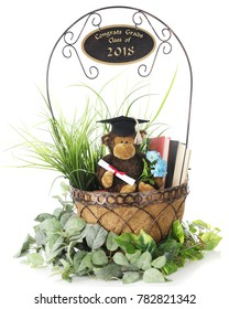 """A graduating monkey in a basket of books and greenery with """"Congrats Grads Class of 2018"""" on the handle.  On a white basket."""