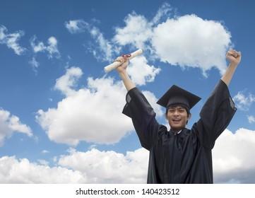 Graduating student celebrating his success