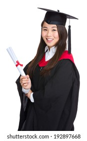 Graduating student girl with academic gown