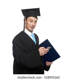 Graduating student with smartphone isolated on white background