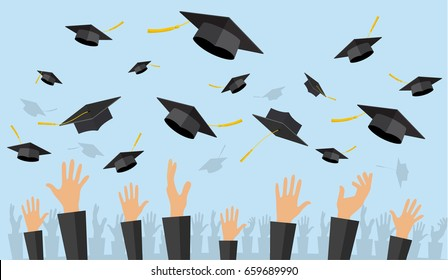 Graduating students of pupil hands in gown throwing graduation caps in the air, illustration in flat style Raster version