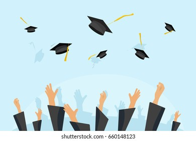 Graduating students or pupil hands in gown throwing graduation caps in the air, flying academic hats, throw mortar boards in the sky flat cartoon illustration clipart image