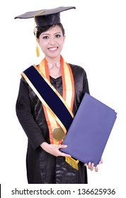 Graduation beautiful asian woman, carrying an empty book, isolated on white background