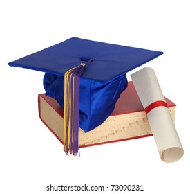 Graduation cap, book and scroll wrapped in a ribbon isolated on white.