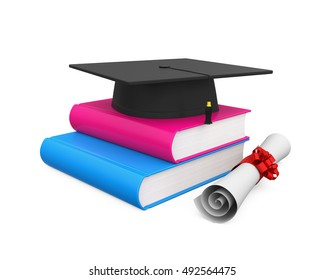 Graduation Cap and Books. 3D rendering