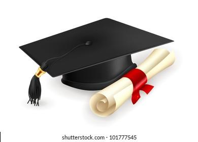 Graduation cap and diploma, bitmap copy