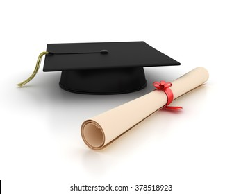 Graduation Cap and Diploma - Learning Concept - High Quality 3D Rendering