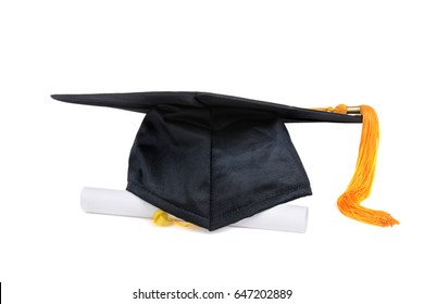 graduation cap and diploma on white background