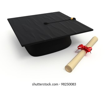 Graduation cap & Diploma render (isolated on white and clipping path)