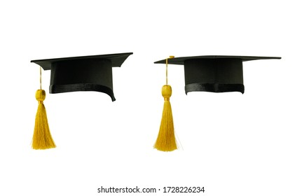 graduation cap with gold tassel isolated on the white background