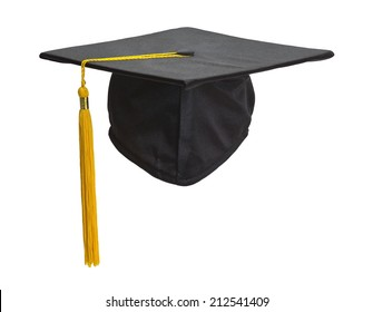 Graduation Cap and Gold Tassel Isolated on White Background.